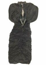 Vanna White Vintage Ruched Wiggle Cape Dress Size 6 Black Sequin V Neck Pin Up