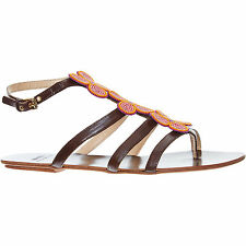 MOSCHINO CHEAP & CHIC Brown Leather Embellished Sandals size UK 5 - New