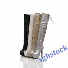Ladies Stripper Dancer Stilettos Platform Shoes Over Knee Thigh High Boots sg14