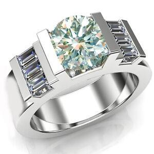 3.24+Ct Vvs1,Near Ice White Moissanite Diamond & Baguette 925 Silver Men's Ring