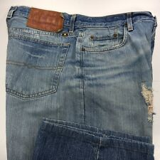 Lucky Brand Lowrise Bootleg Distressed Blue Jeans Mens 32x30 Button Fly Hemmed
