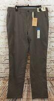 Haggar pants mens 36 x 34 performance flat brown Comfort Waist New no iron BX3