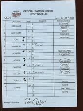 Original April 28 2005 MLB Minnesota Twins Line Up Card at Kansas City Royals