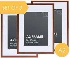 Set 3 pcs A2 Walnut Wood Colour Photo Frame + Mat Board - A2 Picture Frames
