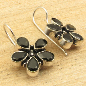 "Modern FLOWER Earrings ! BLACK ONYX 5 Gemstone 1"" Silver Plated NICE Jewelry"