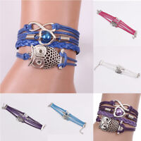 Women Fashion Infinity Friendship Charm Leather Owl Lover Bracelets Jewelry Gift