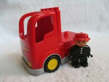 Lego Duplo red Fire Truck Cab with gray Base and a fireman figure