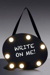 Hanging Speech Bubble Light Up Black Chalkboard Message Note Memo Wedding Party