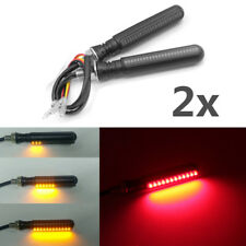 "2x 4"" Motorcycle Flowing LED Turn Signal Indicator Lamp + Red Brake Flash Light"