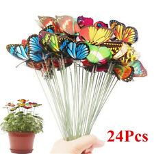 24Pcs 7cm Garden Butterfly Stakes Outdoor Yard Planter Flower Pot Garden Decor