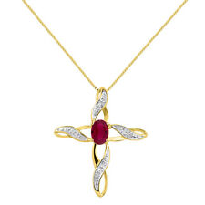 Diamond & Ruby Cross Pendant 14K Yellow Gold or 14K White Gold