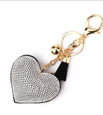 HEART Rhinestone Crystal Keyring Handbag Charm Key Chain Women Gift 'UK Based'