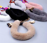 Womens Kids Genuine Rex Rabbit Fur Winter Scarf Wraps Scarves Snood Warm Soft