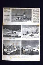 Spedizione inglese al Polo Artico + Mezzi di trasporto Incisione del 1875