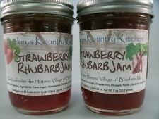 Two Jars Strawberry Rhubarb Jam Holiday Gift Gourmet Jam Artisan Fruit Spread