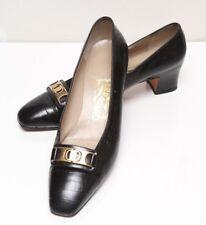 Salvatore Ferragamo Block Heel Shoes Black Sz 8 B