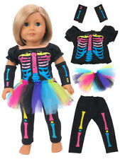 Neon Skeleton Halloween Costume 4 PC 18 in Doll Clothes Fits American Girl