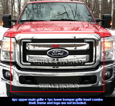 Fits 2011-2015 Ford F250/F350 SD XLT/Lariat/King Ranch Black Billet Grille Combo