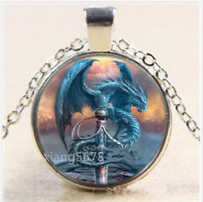 Dragon and Sword Cabochon Glass Tibet Silver Chain Pendant Necklace