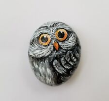 Owl 1,5x2 in. Hand Painted on a rock Artist V.Kovtun / great for a gift
