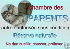 PLAQUE DE PORTE METAL CHAMBRE  PARENTS  27 X 19 cm environ - angles arrondis