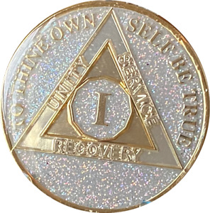 1 Year AA Medallion Opal Silver Glitter Tri-Plate Sobriety Chip