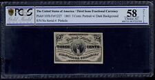 UNITED STATES 3 CENTS 1863 FRACTIONAL CURRENCY  PICK #105b PCGS 58 CHOICE AU.