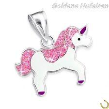 Glitzer Einhorn Anhänger 925 Echt Silber Kinder Mädchen Geschenkidee Pferd Pink
