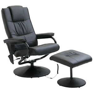 Full-Body Electric Massage Chair w/ Footstool Black Faux Leather Lounge Armchair