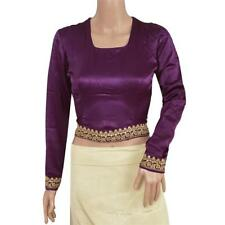 Sanskriti Pre Owned Fabric Satin Silk Hand Beaded Top Blouse Fashion Purple