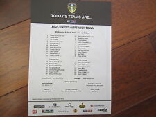 2014-15 CHAMPIONSHIP   LEEDS UNITED  v IPSWICH TOWN OFFICIAL    TEAM SHEET