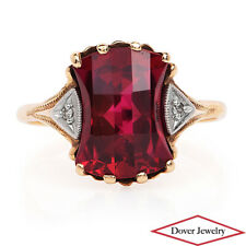 Vintage Diamond Synthetic Ruby 10K Gold Fancy Cocktail Ring NR