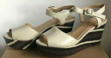 Cole Haan Wedge Shoes Womens 7.5 Gillian Ivory Brown Stripes Leather Reptile