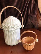 Partylite Nantucket Basket P7124 Bisque Porcelain - Bamboo Handle+mini basket