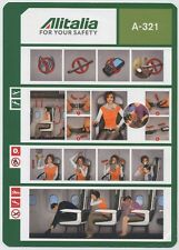 ALITALIA SAI A-321 Airline SAFETY CARD 64503021 01/01/2015 small size - sc619 aa