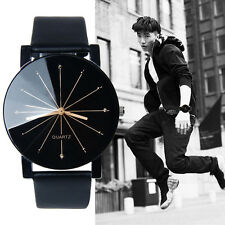 Luxury Men Watch Unisex Black Dial Stainless Steel Round Quartz Wrist Watches