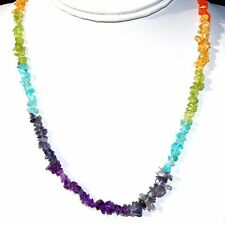 "CHARGED 7 Chakra Premium Crystal Chip 18"" Necklace Healing Energy REIKI WOW!!!"