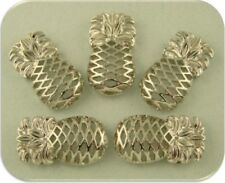 2 Hole Beads Pineapples TROPICAL Fruit ~ Silver Sliders ~ Jewelry Bracelet QTY 5