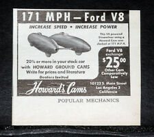 1950 OLD MAGAZINE PRINT AD, HOWARD GROUND CAMS, FORD V-8, INCREASE SPEED, POWER!