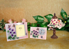 HAND PAINTED FLORAL 3 PIECES SET TABLE LAMP PHOTO FRAME PANEL CLOCK