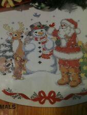 NIP BUCILLA STAMPED CROSS STITCH CHRISTMAS TREE SKIRT KIT SANTA SNOWMAN  ANIMALS