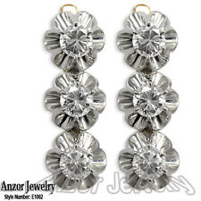 14k Solid Rose & White Gold White Sapphire Russian style Svetafor Earrings