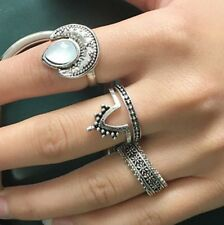 4 pcs Silver Rings Set Knuckle Urban Stack Above Band Midi Moonstone Rings
