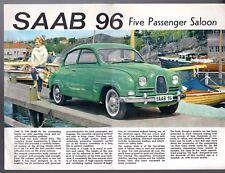 Saab 96 2-Stroke Saloon 1962-63 UK Market Single Sheet Sales Brochure