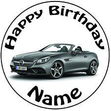"""Personalizzato Compleanno MERCEDES ROUND 8"""" facile PRETAGLIATO GLASSA cake topper"""