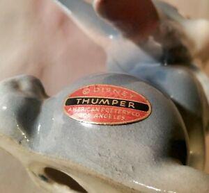 FOIL LABEL thumper walt disney ceramic figurine vtg bambi california art pottery