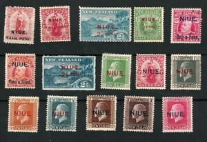 NIUE CIRCA 1900-1920 SELECTED MINT STAMPS TO 1/- INCLUDING VARIETIES (15)