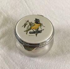 Rare Vintage STRACHAN AUSTRALIA SILVER PLATE porcelain BIRD TRINKET BOX pillbox