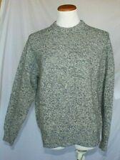 Lands End Vintage Womens Sweater Large Heather Blue Crew Neck T31