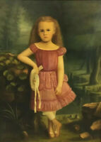 1870's Little Girl Portrait Oil Painting Luella Sydney Jones Friend 1868-1944